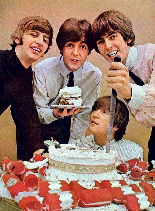 Beatles eating cake